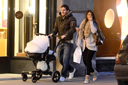 [USA ONLY] *EXCLUSIVE* Paris, France - Argentinian soccer player and Barcelona's leading scorer, Lionel Messi, spends a day out with his girlfriend Antonella Roccuzzo and their son Thiago in Paris.  The couple walked around bundled up in jackets while pushing their little one in the stroller and seemed to enjoy their time together, as they talked and had some laughs.  In recent news, it has been announced that Lionel signed a two-year contract extension with Barcelona, which will go on until June 2018. AKM-GSI          February 11, 2013 [USA ONLY] To License These Photos, Please Contact : Steve Ginsburg (310) 505-8447 (323) 4239397 steve@ginsburgspalyinc.com sales@ginsburgspalyinc.com or Keith Stockwell (310) 261-8649 (323) 325-8055  keith@ginsburgspalyinc.com ginsburgspalyinc@gmail.com